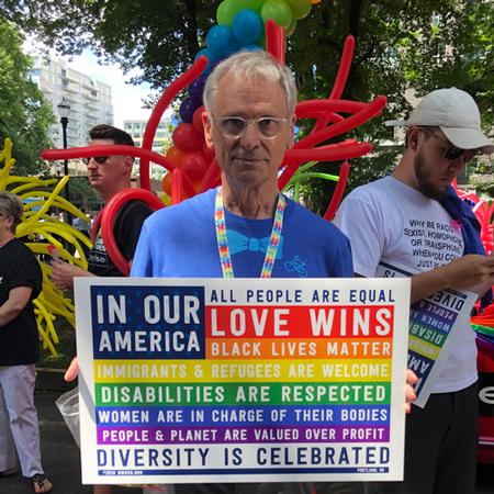 Representative Blumenauer at a Pride event.