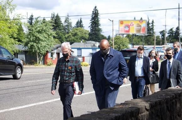 Walking with Mayor Stovall in Gresham